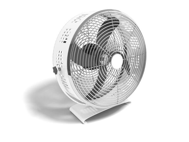 Modernes Metallgrauer Ventilator für das Abkühlen der großen Wiedergabe der Räume 3d auf weißem Hintergrund mit Schatten lizenzfreie abbildung
