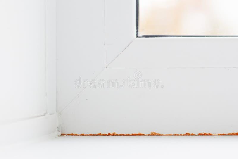 Modernes Metallplastikfenster und -tür in der neuen Wohnung lizenzfreie stockfotos