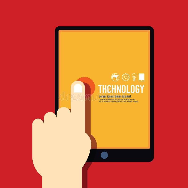 Modernes minimales flaches Design der Technologieschablone/Weinlese Retro- c lizenzfreie abbildung