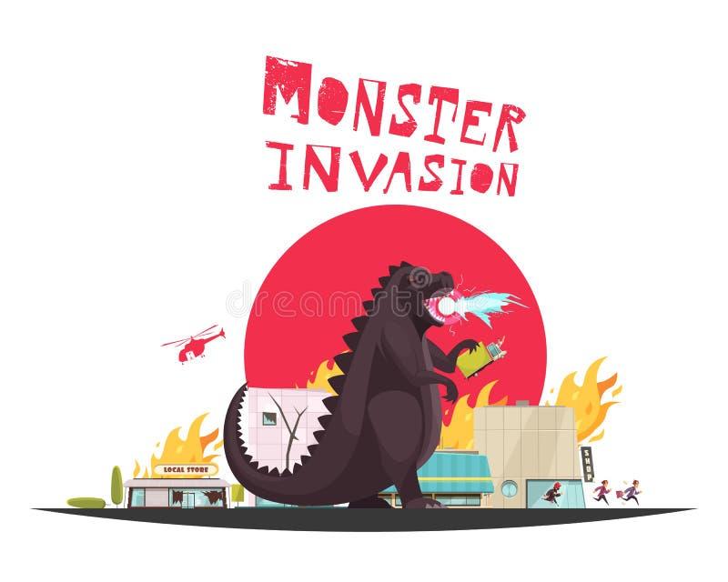 Modernes Monster Dragon Illustration stock abbildung