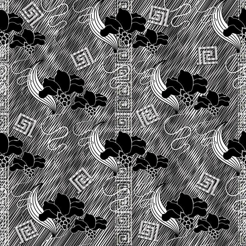 Modernes nahtloses mit Blumenmuster Gestreiftes Ausbrütenschmutz backgrou lizenzfreie abbildung