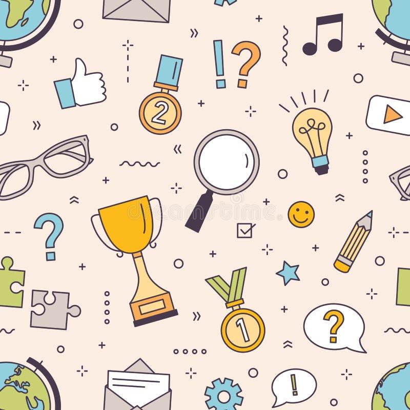 Modernes nahtloses Muster mit Puzzlespiel, Wettbewerb in antwortenden Quizfragen oder Gedankenspielelemente Intelligenz lizenzfreie abbildung