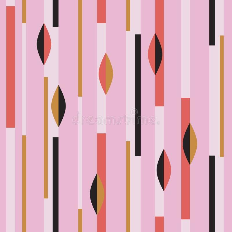 Modernes nahtloses Muster mit Streifen und abstrakten geometrischen Formen vektor abbildung