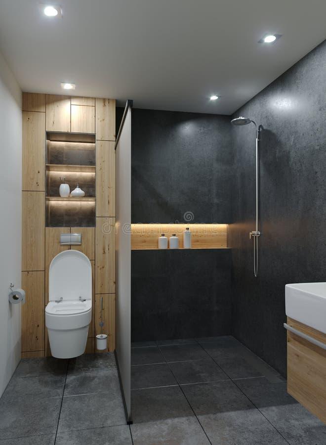 Modernes neues Badezimmer Minimalistic mit Zement-konkreten Schmutz-Materialien mit Holz und geführten warmen Lichtern mit Schein vektor abbildung