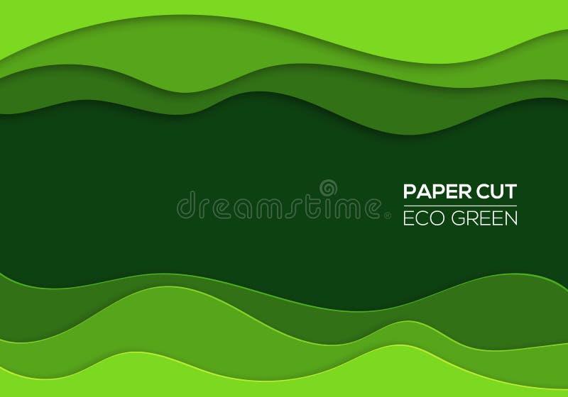 Modernes Papier 3d schnitt Kunstschablone mit abstrakten Kurvenverläufen, grüne Farbe lizenzfreie abbildung