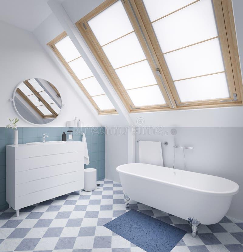 Modernes Pastellbadezimmer mit großer Wiedergabe des Fensters 3d lizenzfreie abbildung