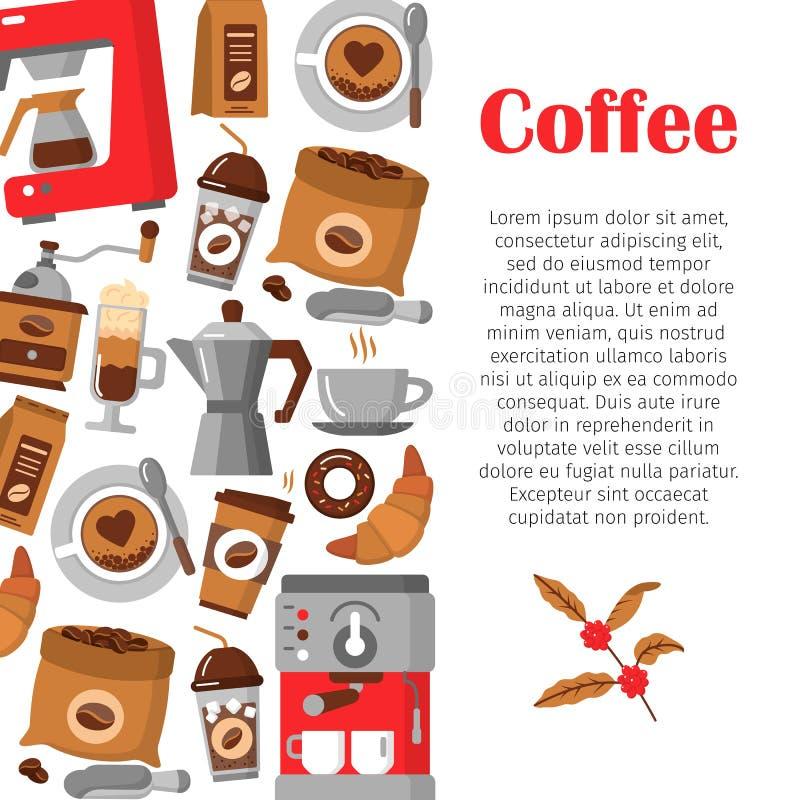 Modernes Plakat mit Kaffeehintergrund vektor abbildung