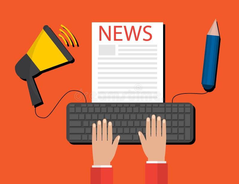 Modernes Pressemitteilungs-Konzept für Netz, on-line-Nachrichten Flaches Design stock abbildung