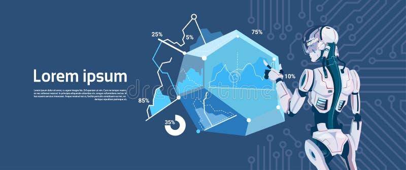 Modernes Roboter-Griff-Laden-grafisches Diagramm, futuristische künstliche Intelligenz-Mechanismus-Technologie lizenzfreie abbildung