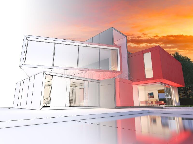 Modernes rotes Hausprojekt lizenzfreie abbildung