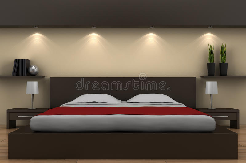 modernes schlafzimmer mit braunem bett stock abbildung illustration von wei fu boden 13404522. Black Bedroom Furniture Sets. Home Design Ideas