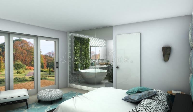Modernes Schlafzimmer mit sehen Abflussrinnenglaswand zu einem Badezimmer stockbild