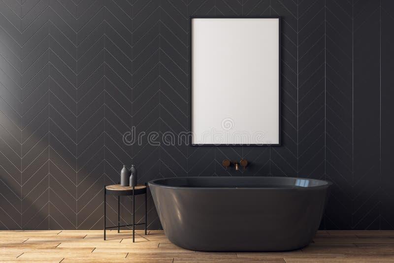 Modernes schwarzes Badezimmer mit Plakat lizenzfreie abbildung