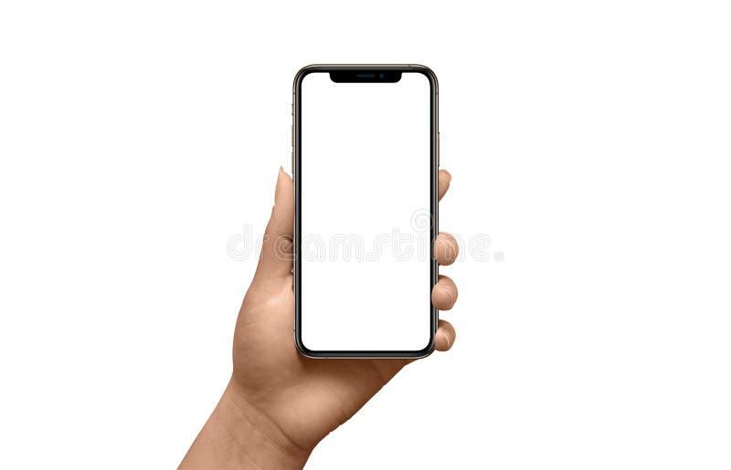 Modernes schwarzes intelligentes Telefonmodell mit d?nnen runden R?ndern in der Frauenhand lizenzfreie stockfotos