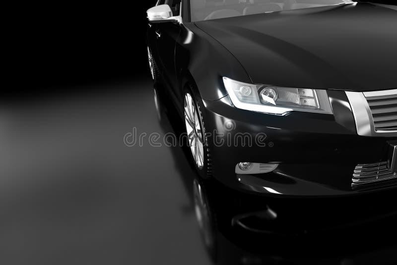 Modernes schwarzes metallisches Limousineauto im Scheinwerfer Generisches Desing, brandless stockbilder