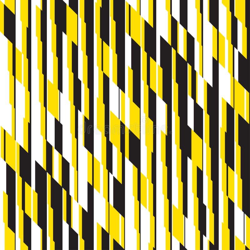 Modernes schwarzes und gelbes gestreiftes nahtloses Muster stock abbildung