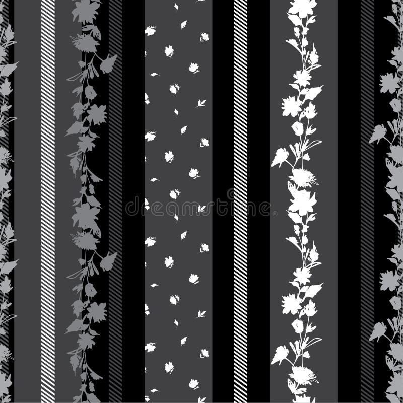 Modernes schwarzes und graues nahtloses Muster mit empfindlichem Blumen mit Mischtapete der kleinen Blumen Streifen amd Musters stock abbildung
