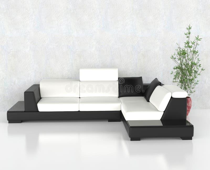 Modernes Schwarzweiss-Wohnzimmer lizenzfreie abbildung