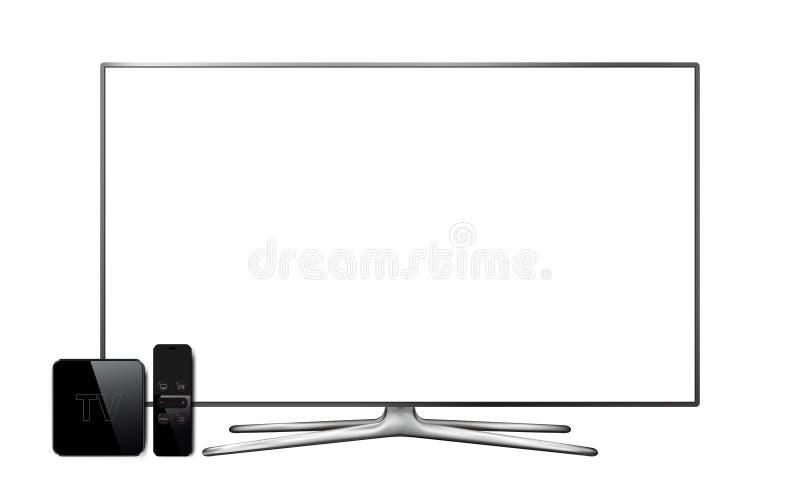 Modernes Smart Fernsehen mit Fernsehkastenempfänger vektor abbildung