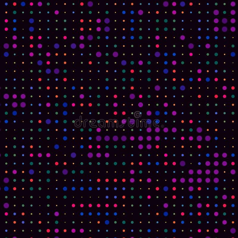 Modernes Spektrum-bunte Polka Dots Black Background Pattern Texture vektor abbildung