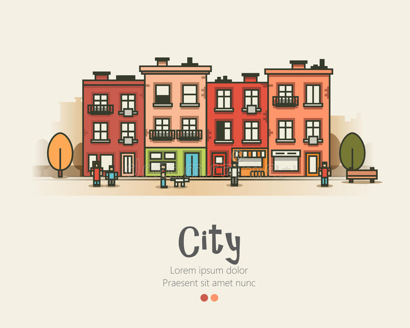 Modernes Stadtlandschafts- und Stadtleben des flachen Designs Auch im corel abgehobenen Betrag lizenzfreie abbildung