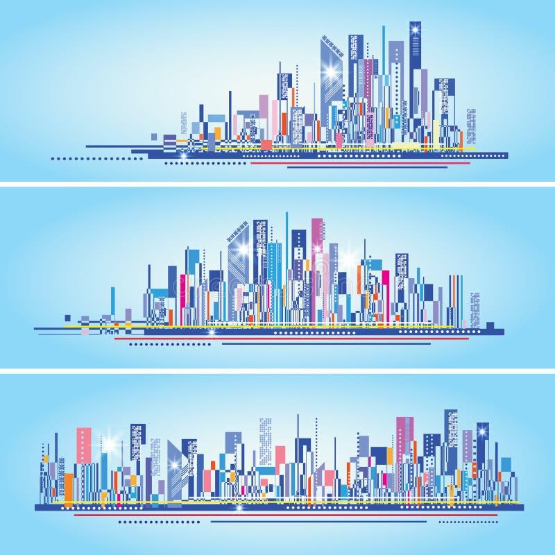 Modernes Stadtleben-Zusammenfassungshintergrunddesign mit geometrischen Formen stock abbildung