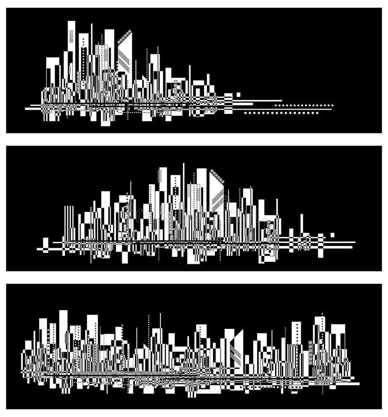 Modernes Stadtleben-Zusammenfassungshintergrunddesign mit geometrischen Formen Eurogeld im braunen Kasten lizenzfreie abbildung