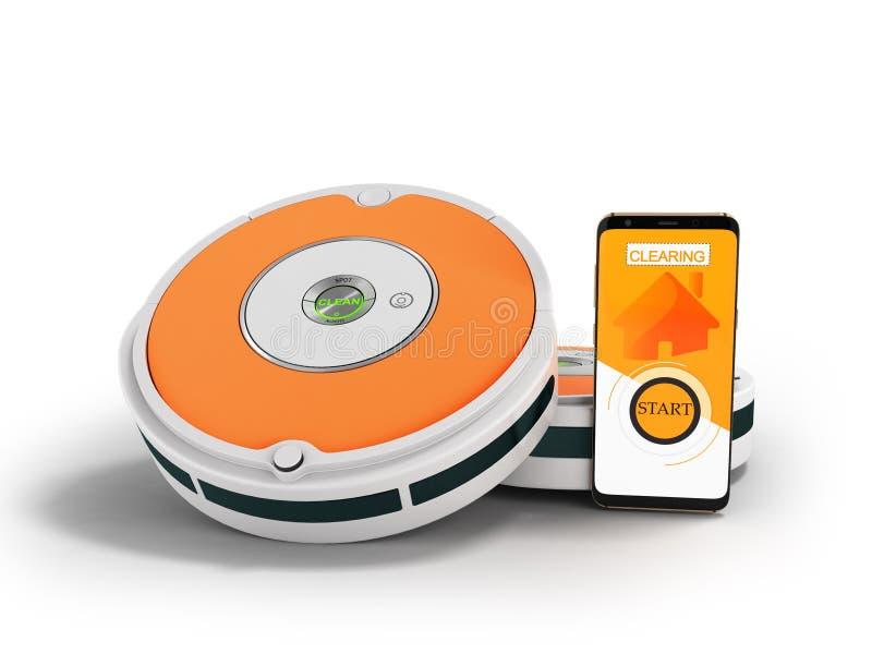 Modernes Staubsauger-Robotergrau mit Orangeneinsätzen mit contro lizenzfreie abbildung