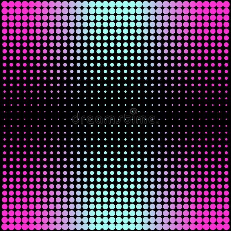 Modernes Steigungsrosa zum blauen Neonhintergrund mit Punkten in Art 80s 90s lizenzfreie abbildung