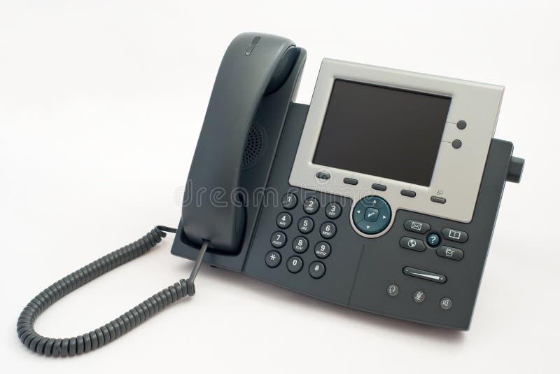 Modernes Telefon auf Weiß stockfoto