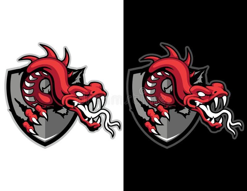 modernes Tiermaskottchenemblem des roten Drachen für esport Logo und T-Shirt Illustration lizenzfreie abbildung