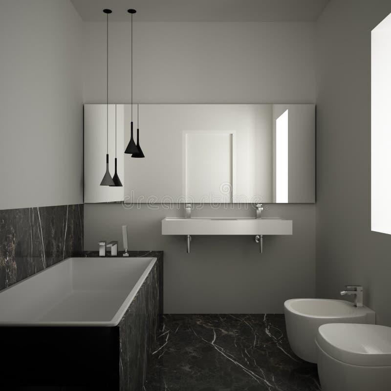 Modernes unbedeutendes Badezimmer mit dunklem Marmorboden und Fliesen, wei?e Badewanne und doppelte Wanne, zeitgen?ssischer Archi stock abbildung