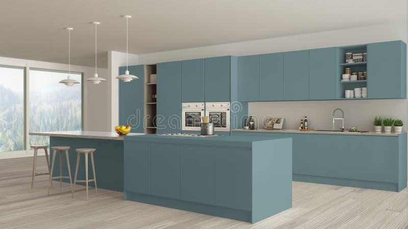 Modernes unbedeutendes Blau und hölzerne Küche mit Insel und großem panoramischem Fenster, Parkett, hängende Lampen stock abbildung