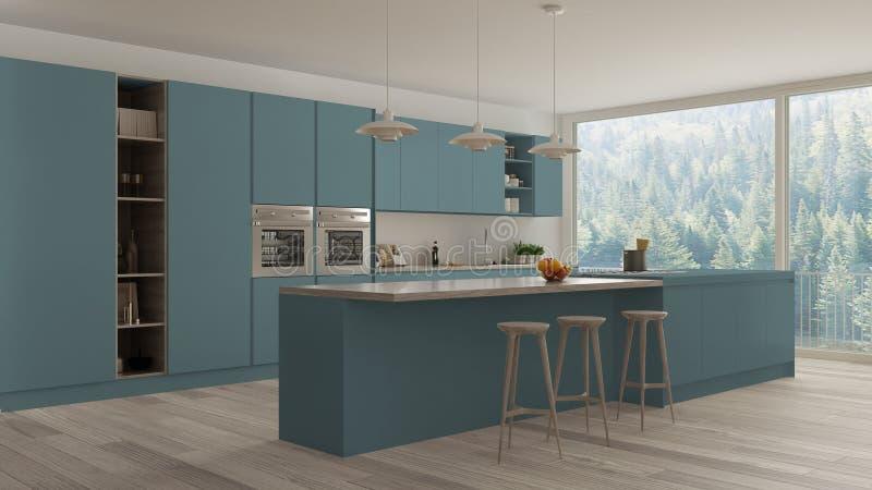 Modernes unbedeutendes Blau und hölzerne Küche mit Insel und großem panoramischem Fenster, Parkett, hängende Lampen, zeitgenössis vektor abbildung