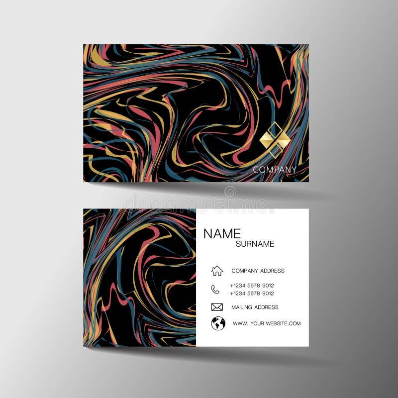 Modernes Visitenkarteschablonendesign Mit Inspiration von der abstrakten Linie Kontaktkarte für Firma lizenzfreie abbildung