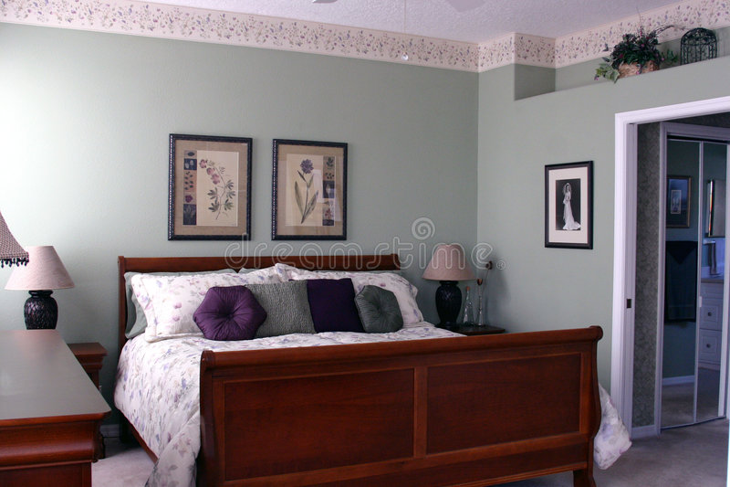 Modernes Vorlagenschlafzimmer lizenzfreie stockbilder