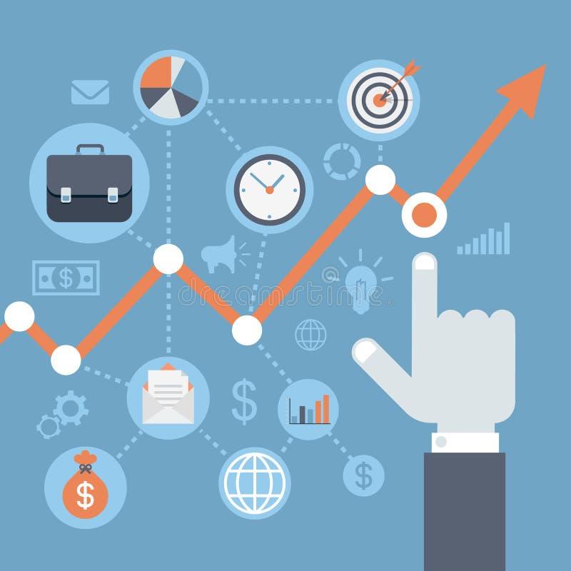 Modernes Wachstum infographics Netz der flachen Art, steigendes Konzept des Einkommens
