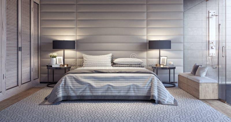 Modernes weißes Schlafzimmerdesign mit Badezimmer lizenzfreie abbildung