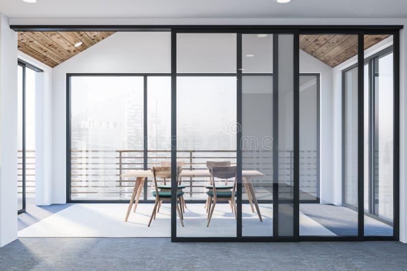 Modernes weißes leeres Büro Innen mit dinning Raum 3d übertragen Flug des Vogels - 1 lizenzfreie abbildung