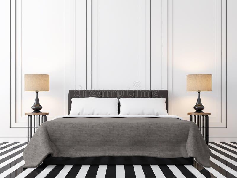 Modernes Weinleseschlafzimmer mit Schwarzweiss--Bild der Wiedergabe 3d vektor abbildung
