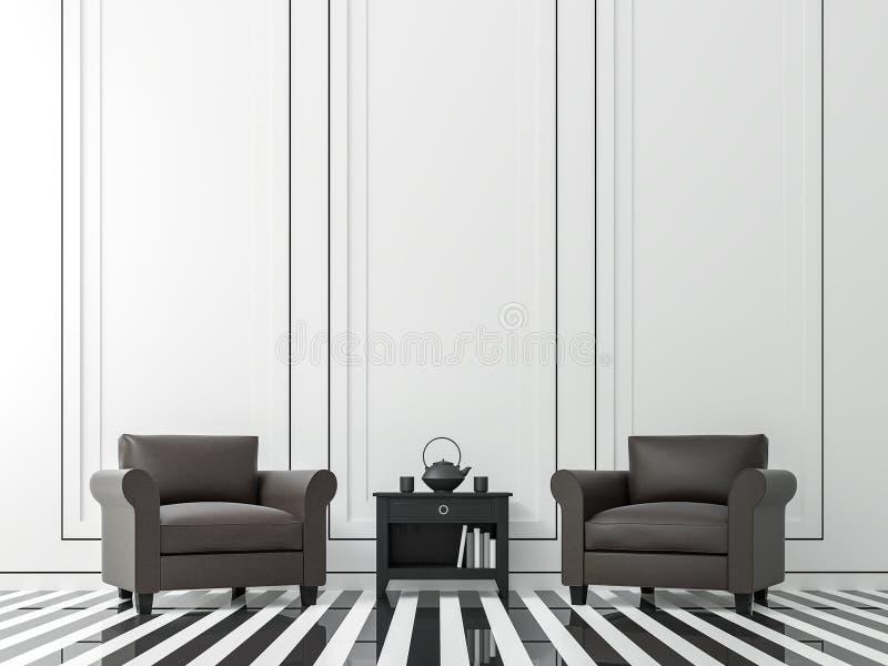 Modernes Weinlesewohnzimmer mit Schwarzweiss--Bild der Wiedergabe 3d lizenzfreie abbildung