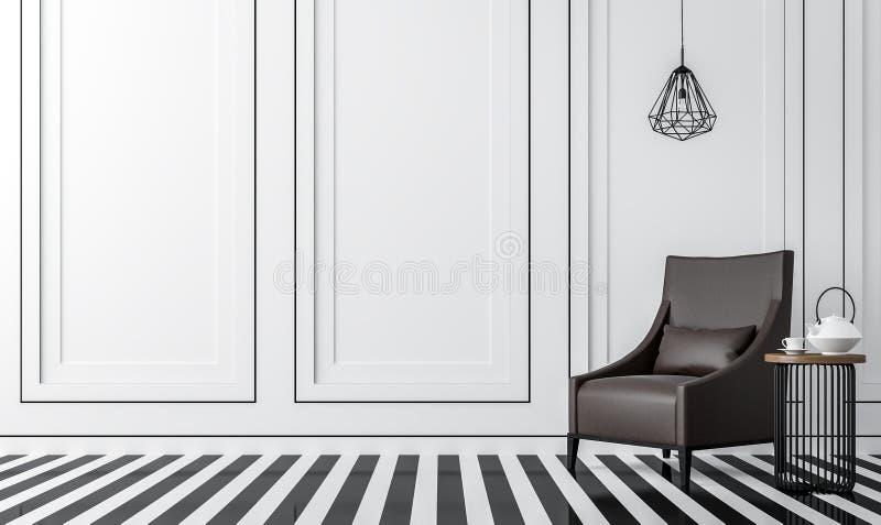 Modernes Weinlesewohnzimmer mit Schwarzweiss--Bild der Wiedergabe 3d stock abbildung