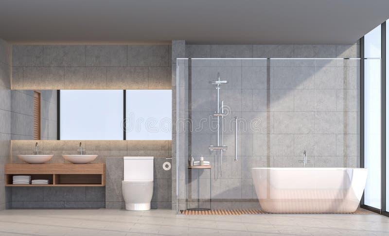 Modernes Wiedergabebild des Dachbodenbadezimmers 3d stock abbildung