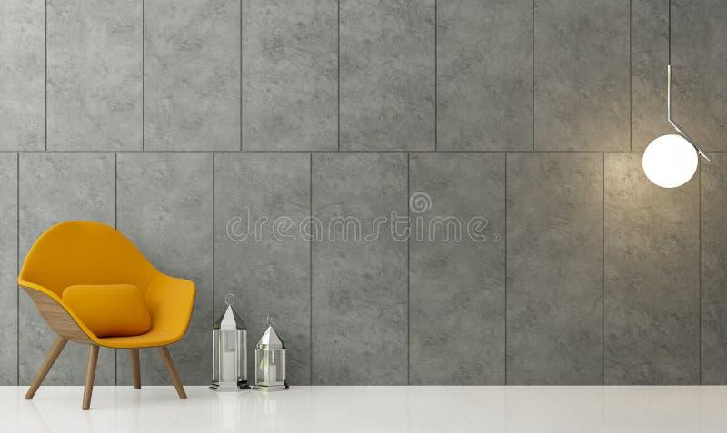 Modernes Wiedergabebild des Dachbodenwohnzimmers 3d stock abbildung