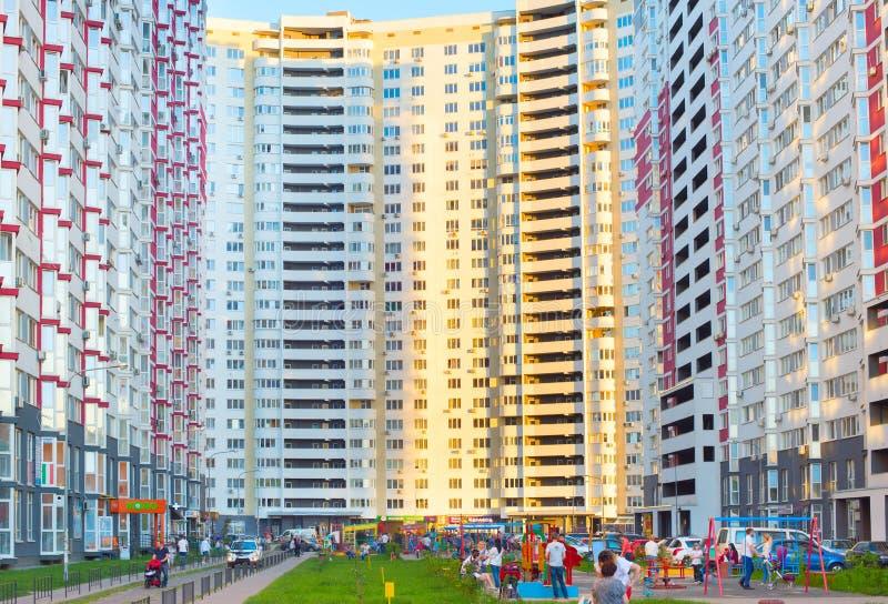 Modernes Wohngebäude Kiew, Ukraine lizenzfreies stockbild
