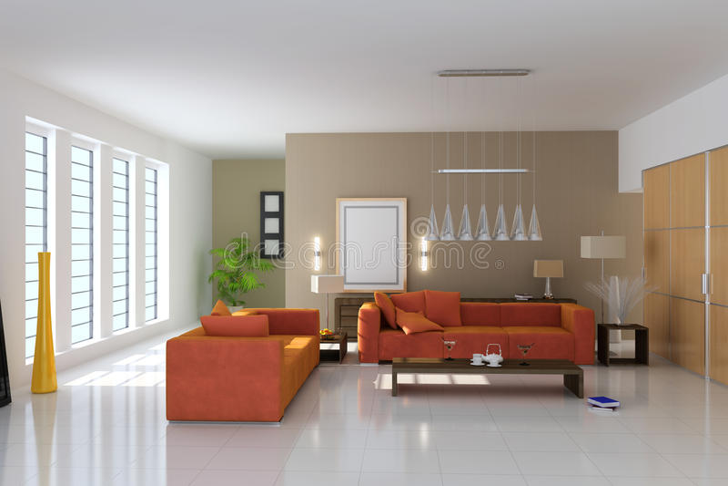 modernes Wohnzimmer 3d stock abbildung