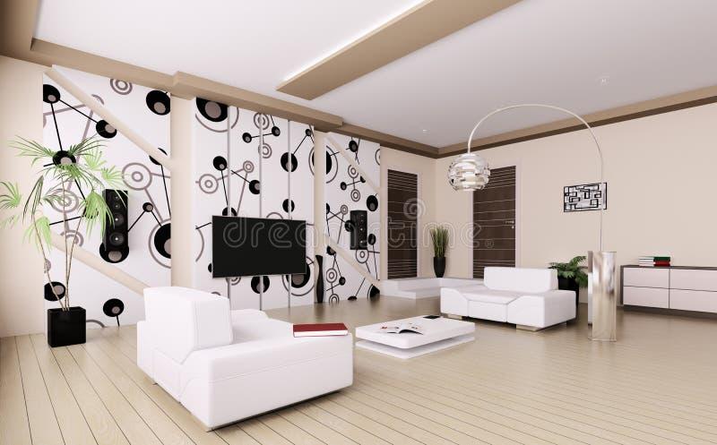 Download Modernes Wohnzimmer Innen 3d Stock Abbildung   Illustration Von  Render, Wohnung: 31656593