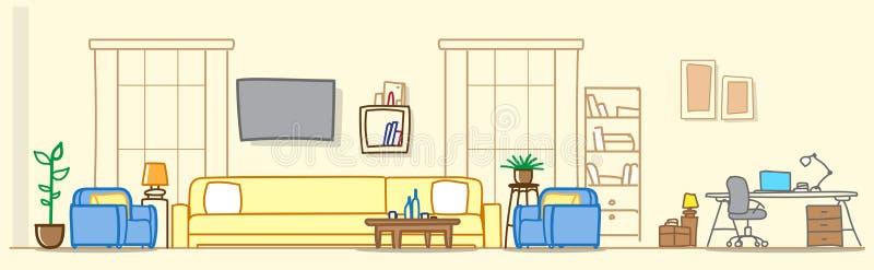 Modernes Wohnzimmer mit Arbeitsplatzzone leeren kein Wohnungsraum-Skizzengekritzel der Leutehausmöbel zeitgenössisches stock abbildung
