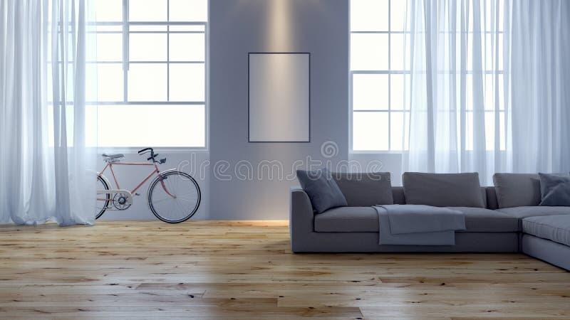 Modernes Wohnzimmer mit dem rosa Fahrrad, das an der Wand sich lehnt lizenzfreie stockbilder