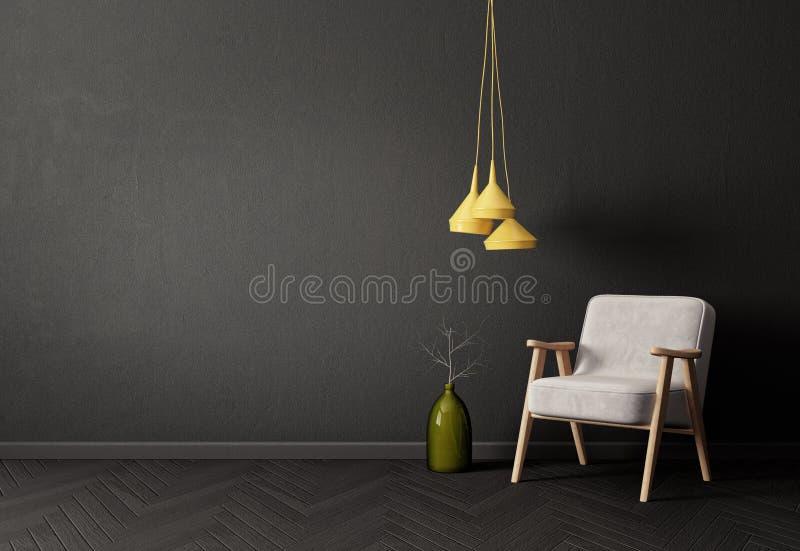 modernes Wohnzimmer mit gelber Lampe des Lehnsessels und schwarzer Wand skandinavische Innenarchitekturmöbel lizenzfreie abbildung